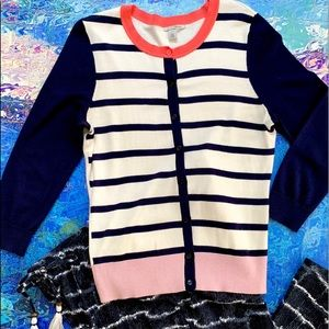 HALOGEN Striped Color Blocked Cardigan